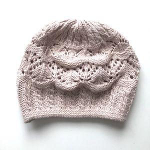 Ralph Lauren   Open Knit Blush Pink Beanie Hat